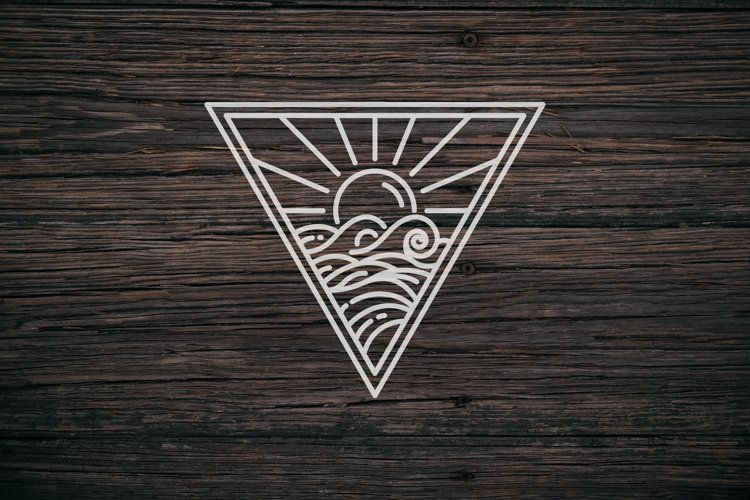 sunset and sea waves logo example image 1