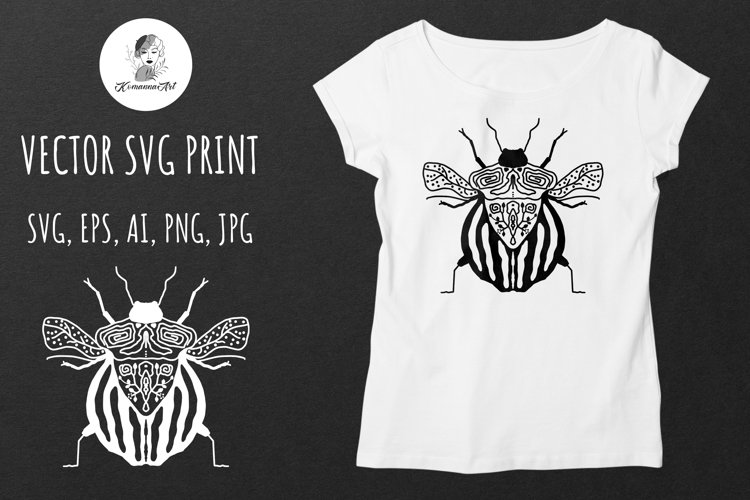 Beetle, magic beetle SVG design, VECTOR SILHOUETTES - Cut Fi example image 1