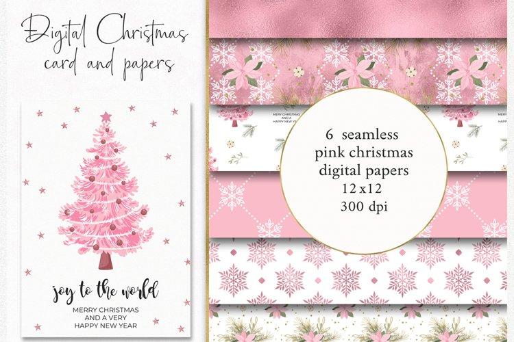 Pink Christmas Digital Paper Card