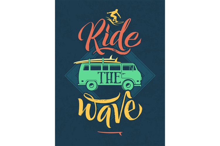 Retro poster of surfer on the waves in hawaii. Sport emblem example image 1
