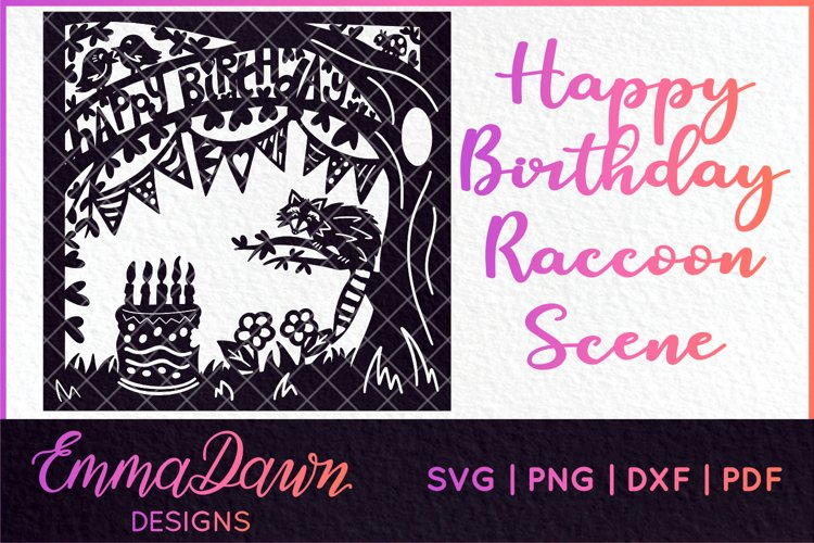 HAPPY BIRTHDAY SVG RACCOON CAKE SCENE DESIGN example image 1