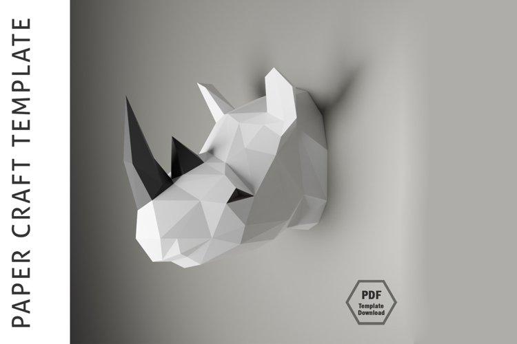 Rhino Papercraft/Paper craft/3D Papercraft/3D rhinoceros/PDF example image 1
