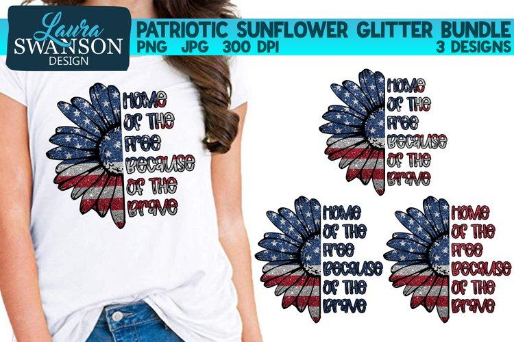 Patriotic Sunflower Glitter Bundle PNG Patriotic Sub Print