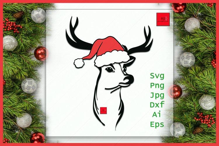 Deer Santa hat svg file, Deer with Hat svg, Christmas svg example image 1