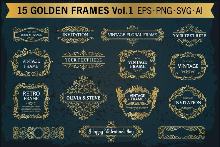Golden frames decorative backgrounds set #1, 15 elements