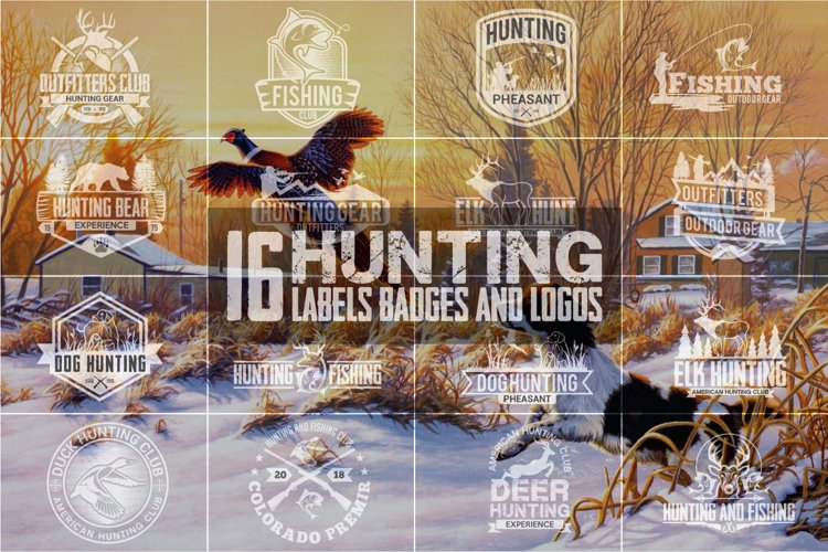 Hunting Vintage Badges and Logos example image 1
