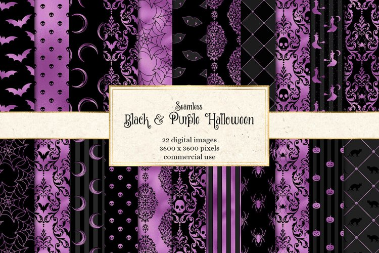 Black and Purple Halloween Digital Paper