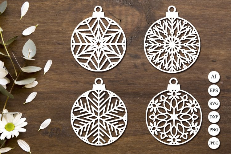 Christmas ball svg, Snowflake svg, Ornament monogram dxf example image 1