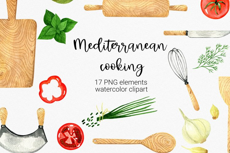 Watercolor Kitchen Clipart. Mediterranean cooking clipart