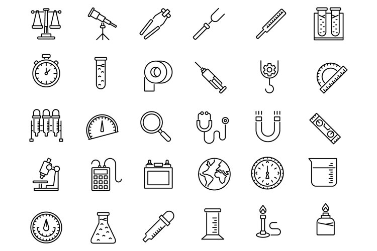 Laboratory equipment outline icons set example image 1