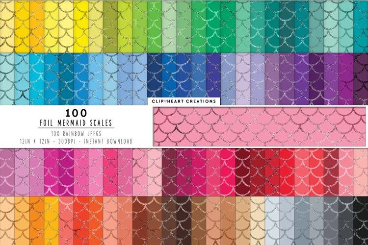 100 Foil Mermaid Scales Digital Papers in Rainbow Colors example image 1