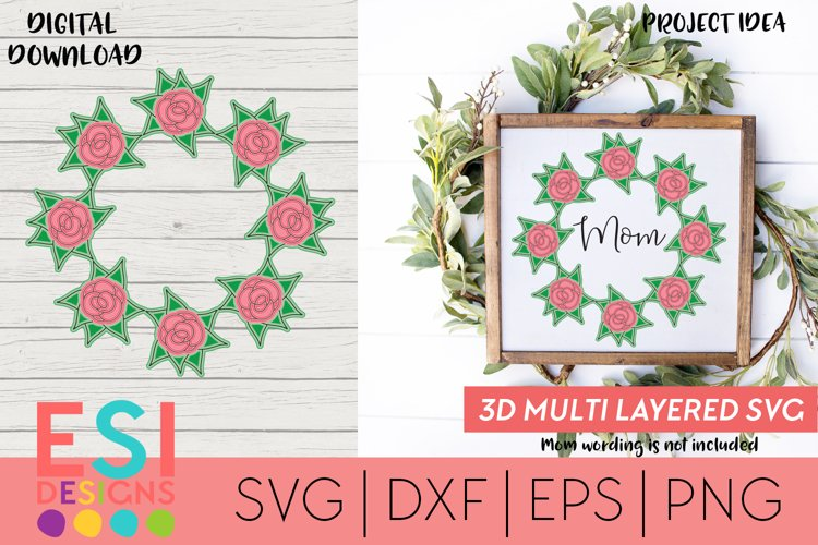 Multi Layered Mandala 3D SVG | Rose SVG | Mothers Day