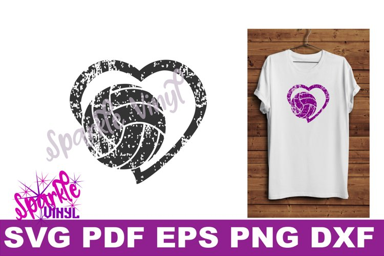 svg grunge distressed gift for volleyball heart svg dxf eps example image 1
