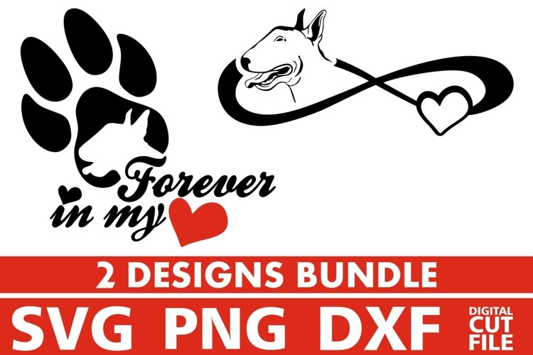 2x Bull Terrier On Board Bundle svg, Dog Breed svg, Paw svg example image 1
