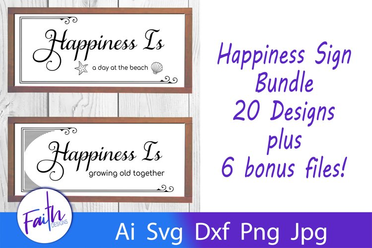 The Happiness Sign Bundle Svg Cut Files