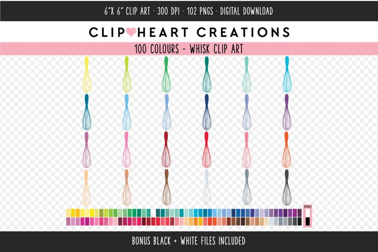 Whisk Clipart - 100 Colours