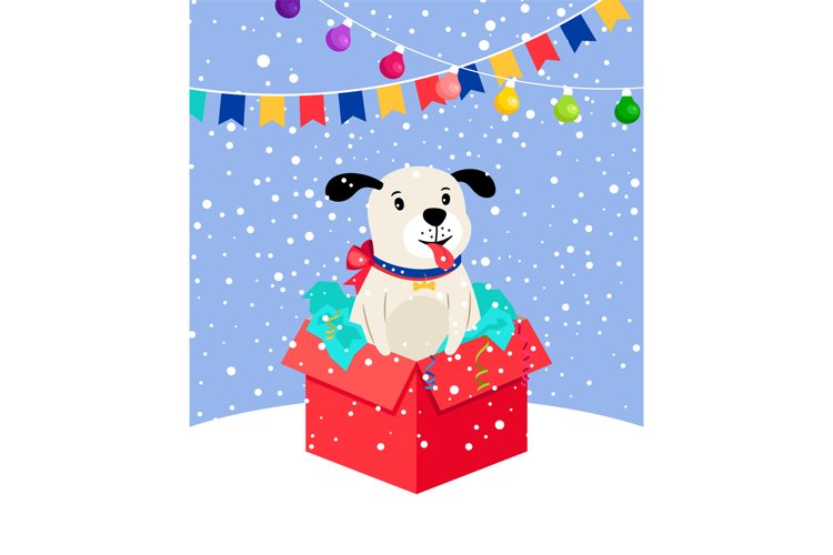 Cute snow puppy in gift box example image 1