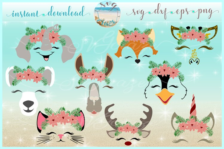 Animal with Poinsettia SVG DXF EPS PNG PDF Bundle example image 1