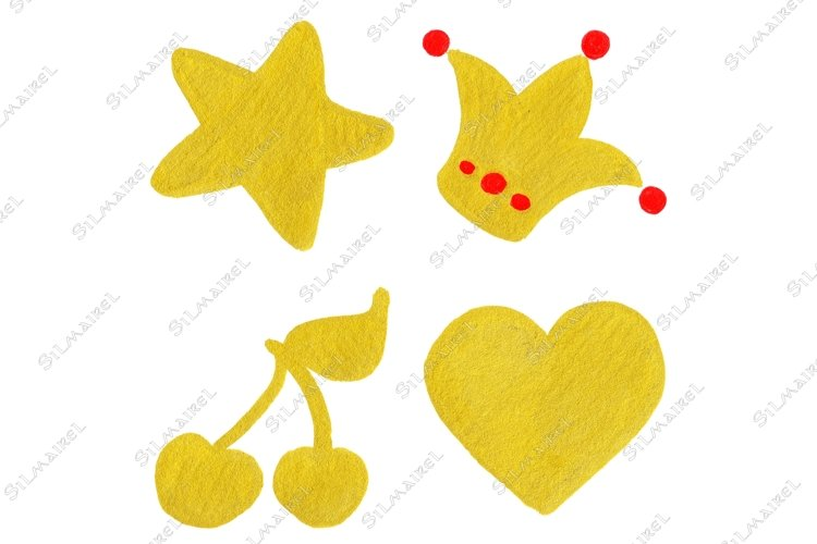 Golden yellow velvet star crown cherry heart symbol set art example image 1