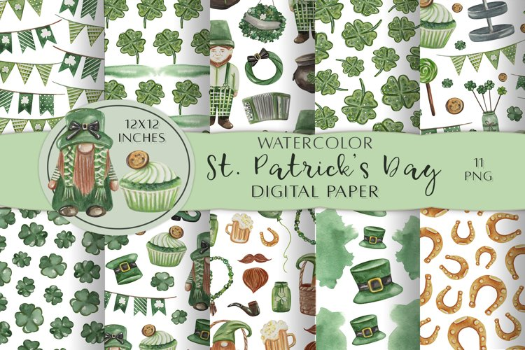 Watercolor St. Patricks Day Digital Papers. Lucky Gnomes PNG