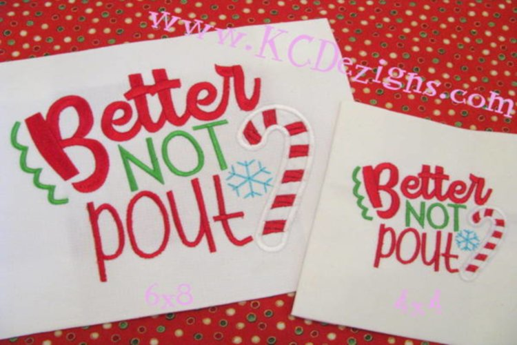 Better Not Pout Christmas Machine Applique Embroidery Design example image 1