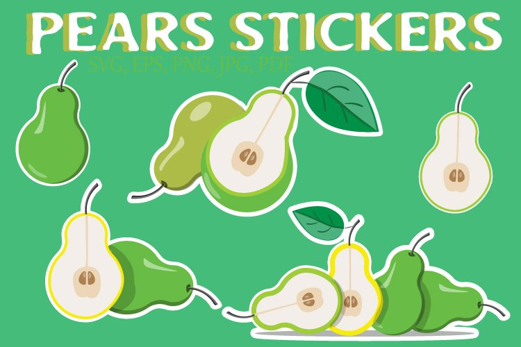 5 pears sticker bundle. Vector
