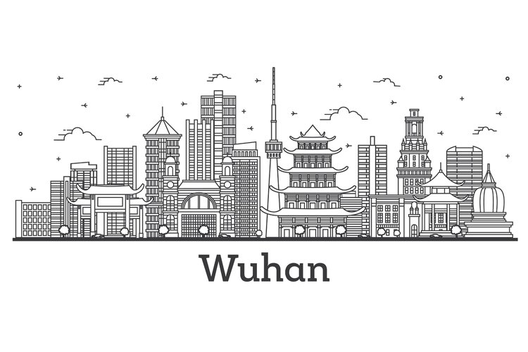 Outline Wuhan China City Skyline with Modern Buildings example image 1