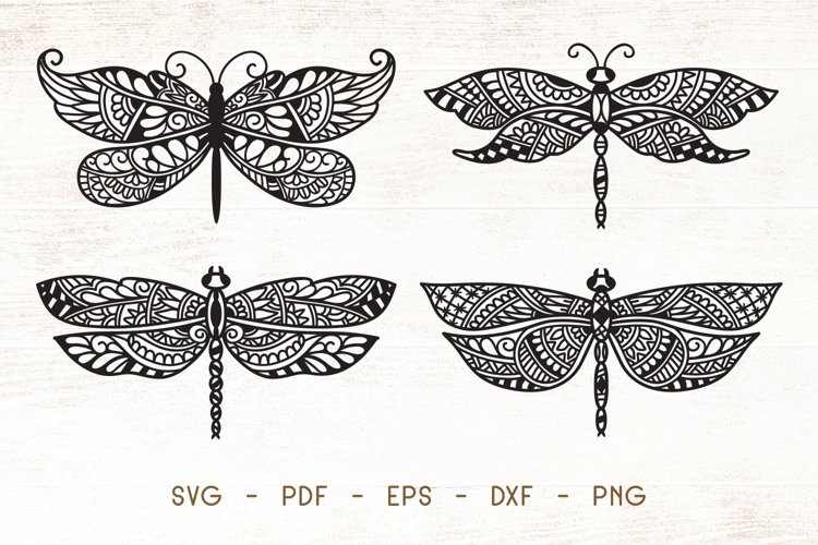 Dragonfly Zentangle - Doodle Art SVG example image 1