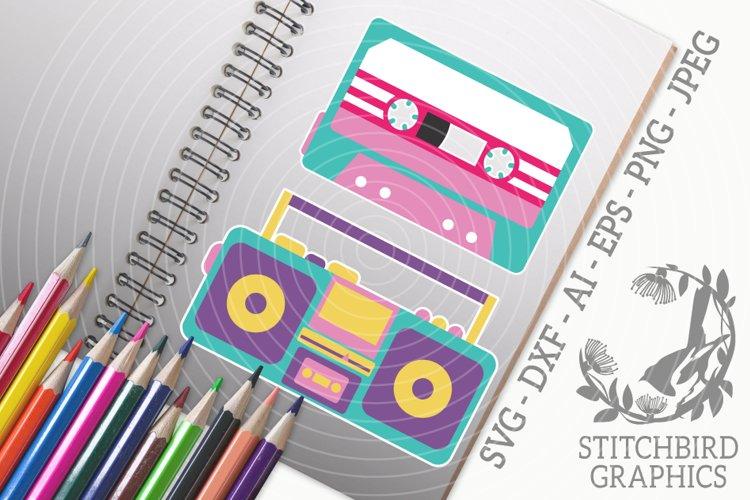 Retro Tape Player Bundle SVG, Silhouette Studio, Cricut, Eps example image 1