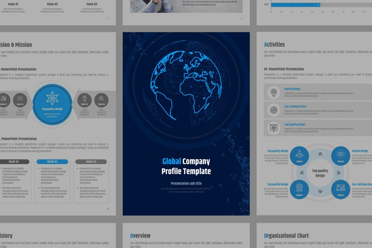 Global Company Profile Template Vertical