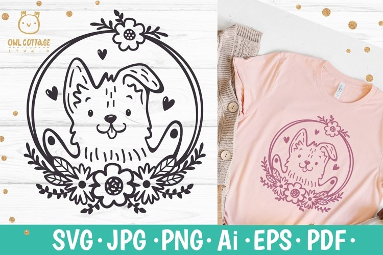 Valentine Dog svg , Puppy with floral decor Svg example image 1