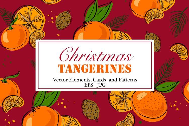 Tangerines Christmas Vector Clipart