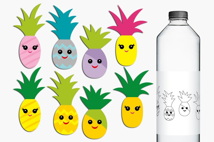 Happy Face Pineapple Illustrations example image 1
