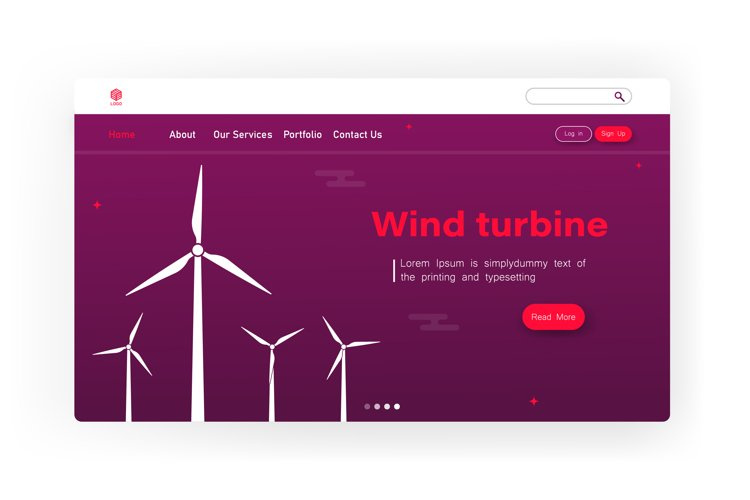 Energy concept background with wind turbine. Page, website example image 1