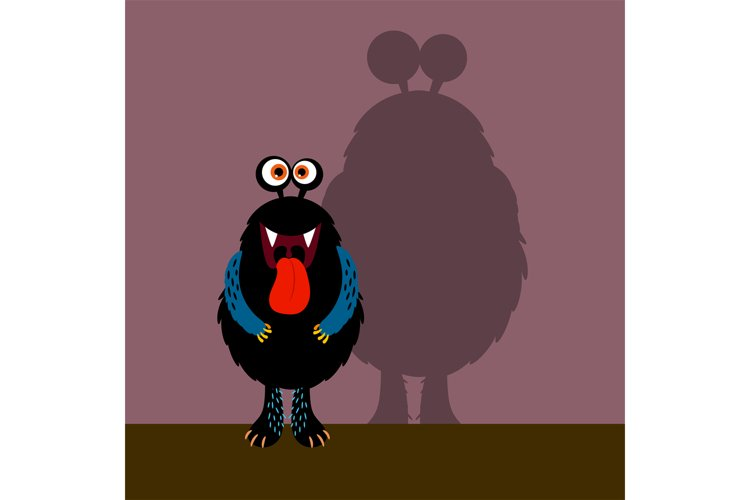 Cute black monster with shadow example image 1