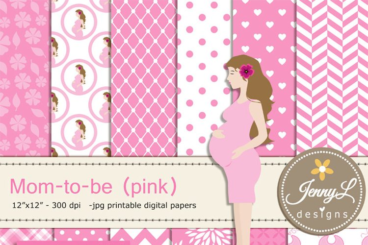 Pregnant Mom Digital papers and Clipart SET, Mom-to-be for Baby Girl, Baby Shower, Gender Reveal Digital scrapbooking example image 1