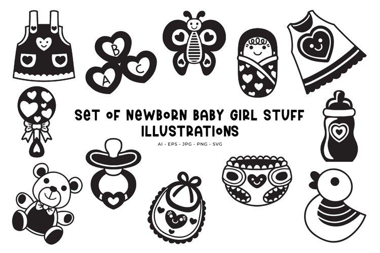 Set of Newborn Baby Girl Stuff illustrations