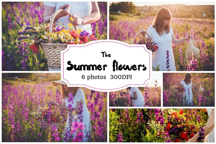 Summer flowers background pack example image 1