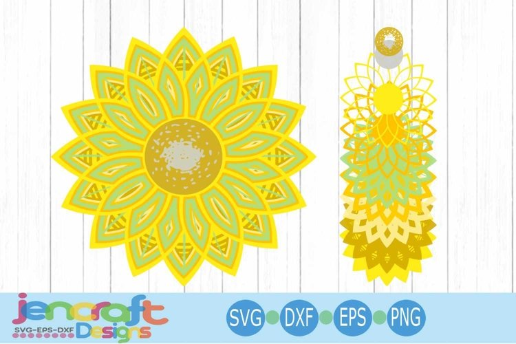 3D Mandala Sunflower SVG, Eps, Dxf Cut file Layered Design