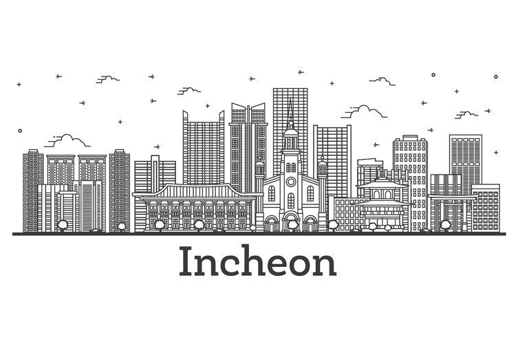 Outline Incheon South Korea City Skyline with Modern example image 1