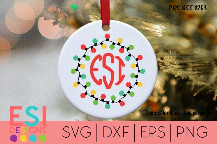 Christmas Lights Monogram Frame| SVG for Cricut Silhouette