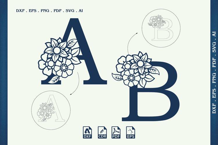 Split Monogram Letters Svg, Dxf, Cdr, Eps, Png, Ai, Cut File example image 1