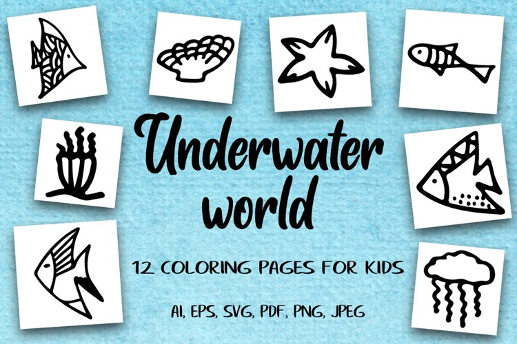 12 Coloring Pages For Kids. Hand-drawn Fish.