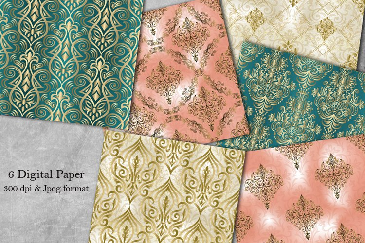 6 Seamless Damask Digital Papers. Collection of papers