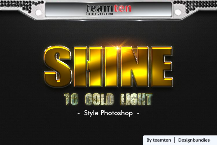 10 Gold Light style Photoshop. example image 1