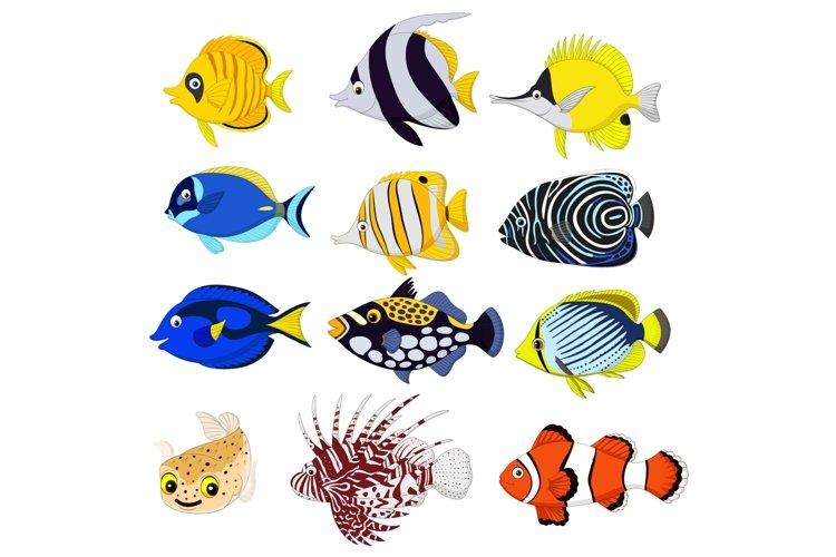 Cartoon Tropical Fish Vector Set example image 1