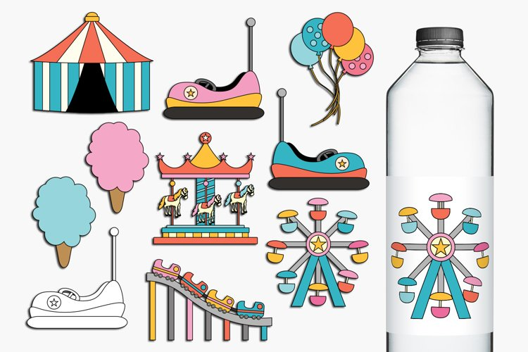 Carnival Amusement Park Rides Illustrations example image 1