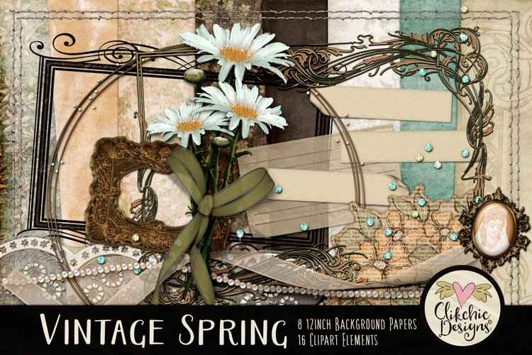 Digital Scrapbook Kit - Vintage Floral Scrapbooking Clipart example image 1