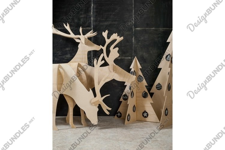 New Year's and Christmas decorations, deer and a tree example image 1