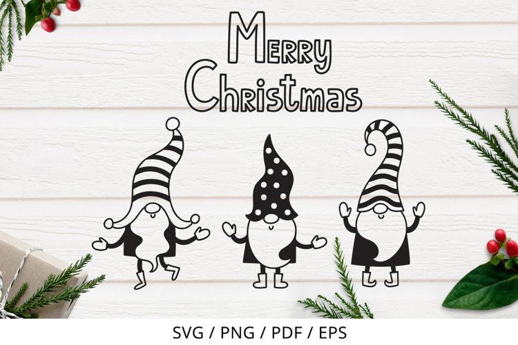Merry Christmas gnomes, coloring page, SVG, PNG example image 1
